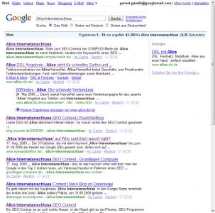 Suchmaschinenoptimierung & SEO - Artikel @ COMPLEX-Berlin.de | Foto: SuchmaschinenOptimierung - Endplatzierung des SEO-Contests von Alice.