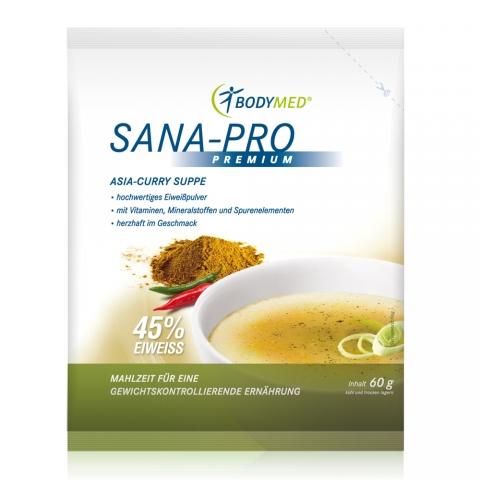Neue Produkte @ Produkt-Neuheiten.Info | Bodymed Suppe Sana-Pro PREMIUM Asia-Curry mit 45g Eiweiss