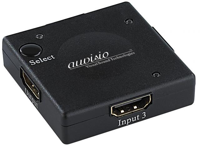 Europa-247.de - Europa Infos & Europa Tipps | auvisio Winziger 3-fach-HDMI-Umschalter HSW-13.M, HDCP, FullHD 1080p