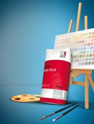 Künstlerische Freiheit an der Fassade mit HECK K+A PLUS – der kreativste Klebe- und Armierungsmörtel seiner Klasse ist in über 160 Farbvarianten erhältlich.