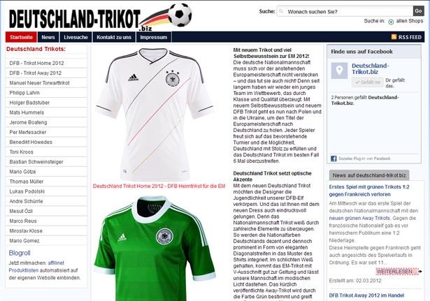 Auto News | Deutschland-Trikot.biz startet mit Preisvergleich zum DFB Trikot Home und Away