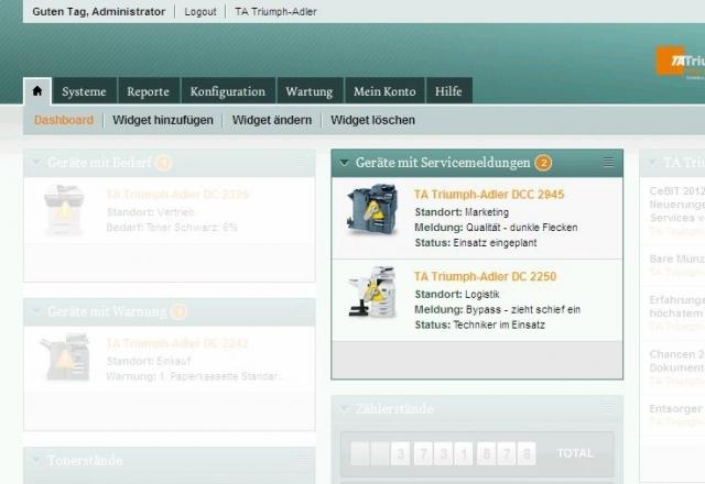 Hardware Infos & Hardware Tipps @ Hardware-News-24/7.de | Die Statusansicht im Dashboard-Ausschnitt zeigt, welche Serviceanforderungen an welchen Systemen mit welcher Meldung offen sind.