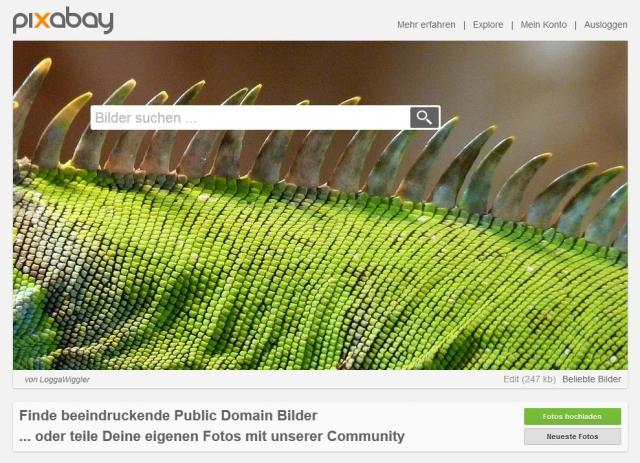 Homepage von Pixabay