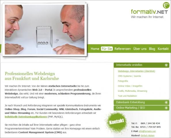 Frankfurt-News.Net - Frankfurt Infos & Frankfurt Tipps | Mehr als 12 Jahre als Internetagentur spiegelt der neue Online-Auftritt von formativ.net wider, mit persönlichen Einblicken in den Agenturalltag und einem eindrucksvollen Überblick über Referenzen und Projekte der Frankfurter Webdesigner.