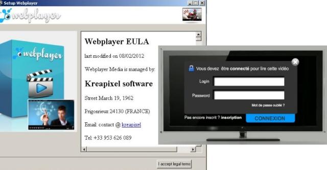 Testberichte News & Testberichte Infos & Testberichte Tipps | EULA und Login-Fenster des Fake Web Player