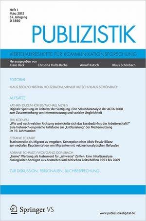 Baden-Württemberg-Infos.de - Baden-Württemberg Infos & Baden-Württemberg Tipps | Cover der aktuellen Ausgabe 01/2012 der Fachzeitschrift Publizistik