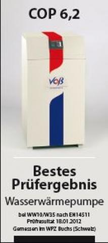 Testberichte News & Testberichte Infos & Testberichte Tipps | Voß ganz vorne - die Wasser-Wasser-Wärmepumpe des bayerischen Herstellers hat beim Test in der Schweiz hervorragende Ergebnisse erzielt.