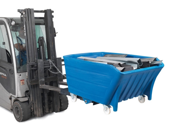 Auto News | Schwerlast-Kippbehälter PolySkip PLUS mit Fahrrollen und Einfahrtaschen aus Stahl für Gabelstapler