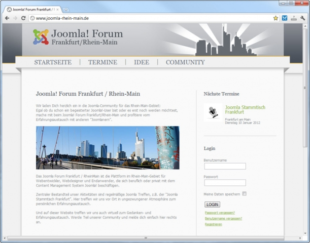 Berlin-News.NET - Berlin Infos & Berlin Tipps | Das nächste Treffen der Joomla! User Group Frankfurt / Rhein-Main findet am 20. April 2012 in Frankfurt statt.