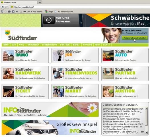 Stuttgart-News.Net - Stuttgart Infos & Stuttgart Tipps | suedfinder.de - Screenshot  Schwäbisch Media hat einen cross- und multimedialen Rubrikenmarkt unter dem Label Südfinder etabliert.