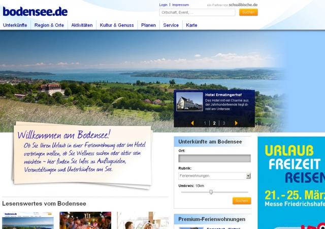 Startseite bodensee.de  Das überarbeitete Freizeit- und Tourismusportal Bodensee.de von Schwäbisch Media bietet Touristen, Bewohnern, Hotelbranche und Gastronomiegewerbe der Bodenseeregion einen verbesserten Service.