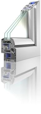 """Neu: Das Modell """"Winergetic Premium"""" von Konzept-Fenster besitzt eine innovative Mehrkammer-Geometrie mit sieben Kammern im Flügel."""