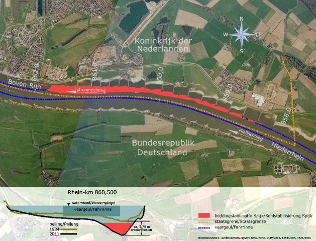 Deutsch-niederländische Zusammenarbeit beim Bauprojekt Sohlstabilisierung Spijk