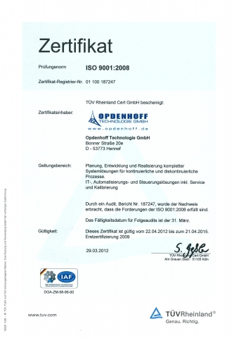 Nordrhein-Westfalen-Info.Net - Nordrhein-Westfalen Infos & Nordrhein-Westfalen Tipps | TÜV-Zertifikat der Opdenhoff Technologie GmbH