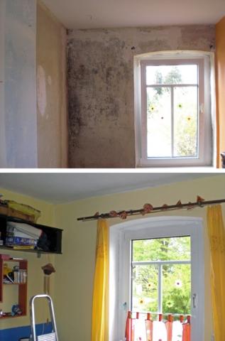 Haussanierung: | Schimmel ade: Die bauphysikalisch wirkende, innovative Mikroporenbeschichtung hält Wände aller Art dauerhaft trocken und schimmelfrei.