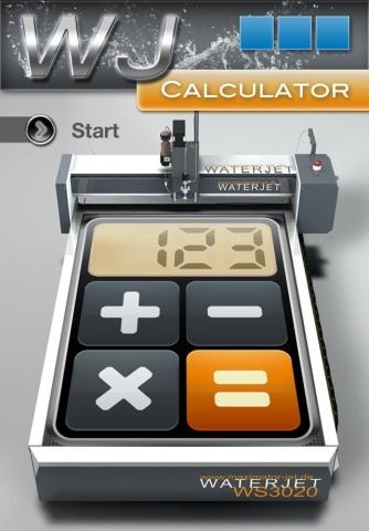 BIO @ Bio-News-Net | Startbildschirm der Waterjet Calculator-App von Maximator JET