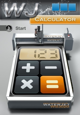 Europa-247.de - Europa Infos & Europa Tipps | Startbildschirm der Waterjet Calculator-App von Maximator JET