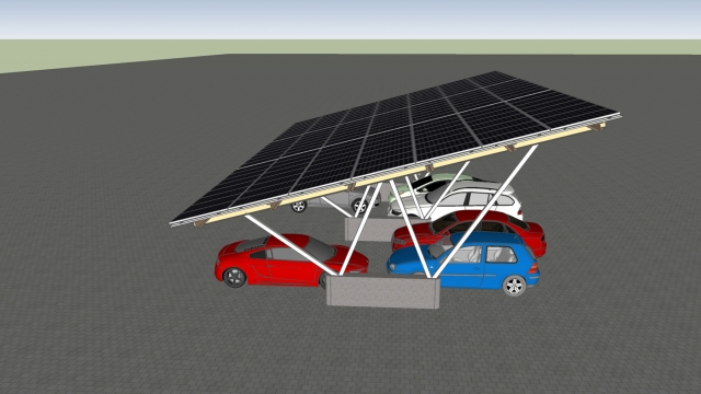 Auto News | Das Görisrieder Unternehmen ECS Solar bietet Carport-Systeme mit Photovoltaik-Panels an. Foto: ECS Solar