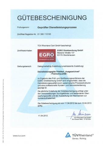 Frankfurt-News.Net - Frankfurt Infos & Frankfurt Tipps | Gütebescheinigung vom TÜV Rheinland für EGRO Direktwerbung GmbH