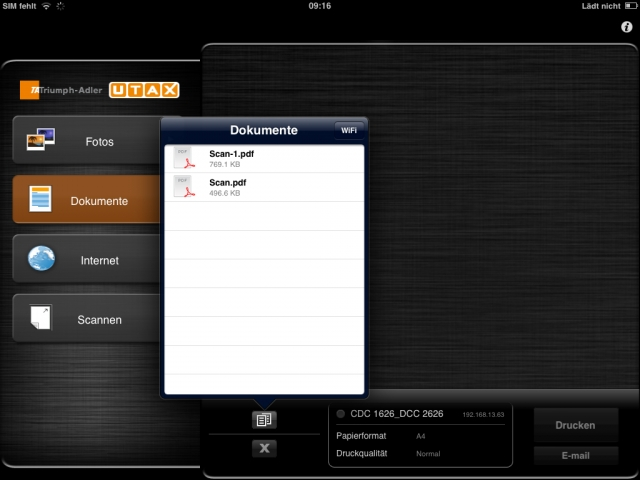 """Mit der Anwendung """"TA/UTAX Mobile Print"""" lassen sich Dokumente direkt von mobilen Endgeräten drucken."""
