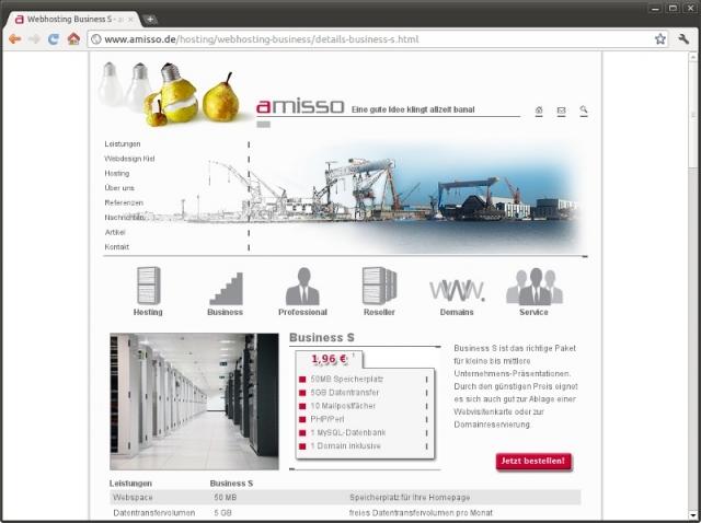 Kiel-Infos.de - Kiel Infos & Kiel Tipps | Screenshot amisso Webhosting