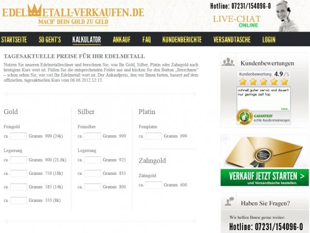 Gold-News-247.de - Gold Infos & Gold Tipps | Online-Kalkulator www.edelmetall-verkaufen.de