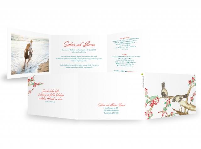 Einkauf-Shopping.de - Shopping Infos & Shopping Tipps | Hochzeitseinladung Vogelblüte