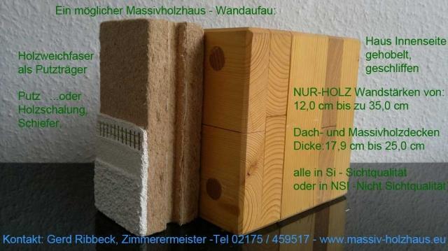 Fertighaus, Plusenergiehaus @ Hausbau-Seite.de | Beispiel Wandaufbau Massivholzmauer - Ein Massivholzhaus für Generationen mit einem Vielfachen an Lebensqualität