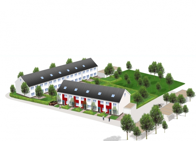 Fertighaus, Plusenergiehaus @ Hausbau-Seite.de | Bereits im Sommer 2013 soll die neue NCC-Reihenhaus-Anlage in Oberhausen fertig gestellt sein.