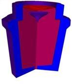 Paris-News.de - Paris Infos & Paris Tipps | Beispiel einer THERCAST-Simulation bei der ein entstandener Lunker durch mangelndes Giesspulver sichtbar gemacht wird.
