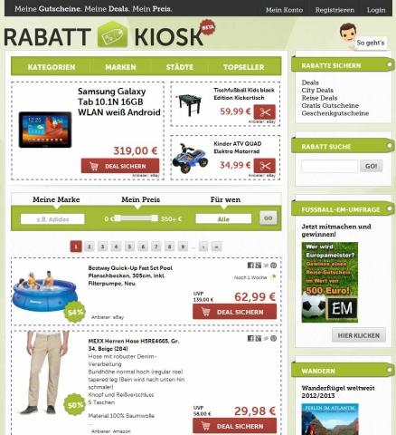 Gutscheine-247.de - Infos & Tipps rund um Gutscheine | Screenshot Rabatt-Kiosk