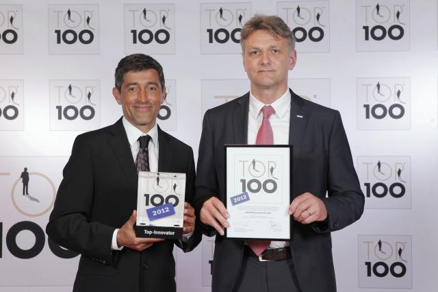 Hessen-News.Net - Hessen Infos & Hessen Tipps | Gutjahr Systemtechnik wurde einmal mehr für sein Vordenken ausgezeichnet: als eines der Top 100-Unternehmen für Innovationen. Gutjahr-Geschäftsführer Ralph Johann nahm die Auszeichnung von TV-Moderator Ranga Yogeshwar entgegen.
