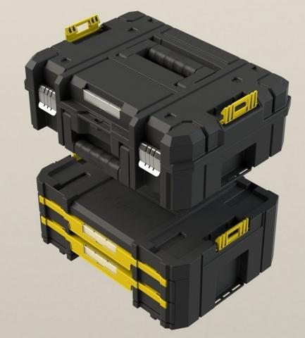 Im Doppelpack günstiger als einzeln gekauft ist die TSTAK Box Combo von DEWALT. Sie besteht aus den Boxen II und IV und bietet Platz für Elektrowerkzeuge und viele Kleinteile.