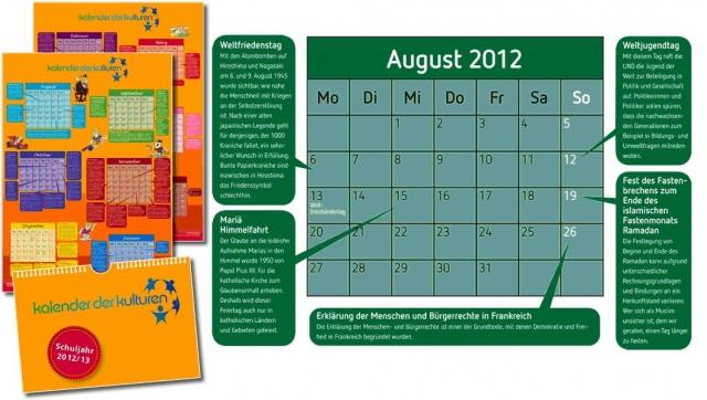 News - Central: Kalender der Kulturen, Beispielmonat August 2012