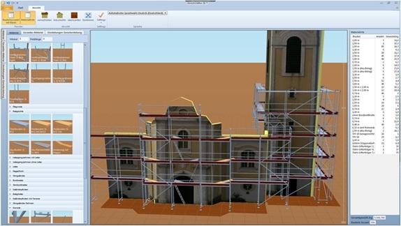 Einrüstungs einer Kirche in Scaffolding CAD 3D