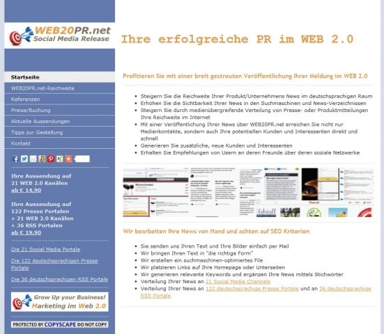News - Central: Homepage von WEB20PR.net