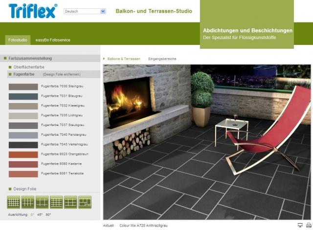 Alternative & Erneuerbare Energien News: Per Mausklick in die Zukunft blicken können Nutzer des Triflex Balkon- und Terrassen-Studios unter www.triflex-studio.com.