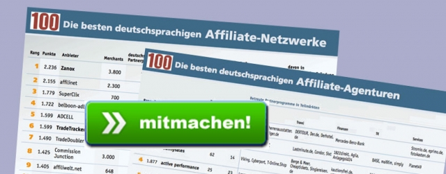 Ranking der Affiliate-Netzwerke und -Agenturen