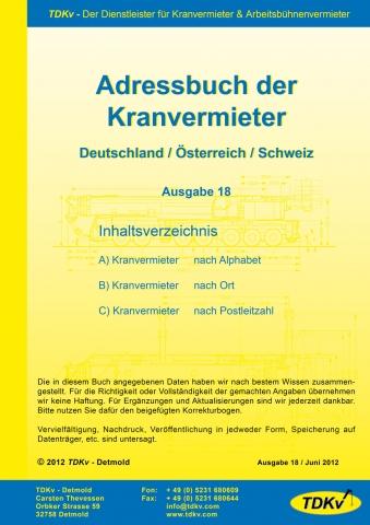 Alternative & Erneuerbare Energien News: Das TDKv Adressbuch der Kranvermieter, Ausgabe 18