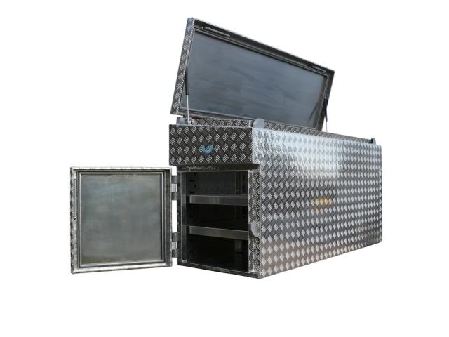 Pritschenkiste aus Aluminium oder Edelstahl zum Transport von Werkzeug, Waren und Güter