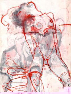 Berlin-News.NET - Berlin Infos & Berlin Tipps | Foto: Evelyn Sommerhoff: >> Danae II <<, Tusche auf Pergament auf Leinwand. 100x 80 cm, 2009.