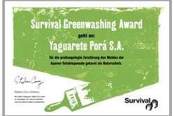 Landwirtschaft News & Agrarwirtschaft News @ Agrar-Center.de | Agrar-Center.de - Agrarwirtschaft & Landwirtschaft. Foto: Survivals Greenwashing Award geht an Viehzucht-Unternehmen Yaguarete Porá. © Survival.