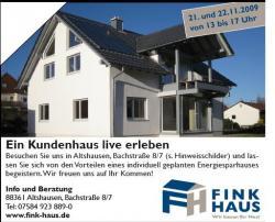 Fertighaus, Plusenergiehaus @ Hausbau-Seite.de | Hausbau & Einfamilienhaus - Foto: Tag der offenen Tür bei Fink Haus GmbH 88361 Altshausen.