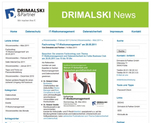 CMS & Blog Infos & CMS & Blog Tipps @ CMS & Blog-News-24/7.de | Drimalski & Partner GmbH