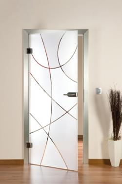 Fertighaus, Plusenergiehaus @ Hausbau-Seite.de | Hausbau & Einfamilienhaus - Foto: Glastür mit Sandstrahl-Design.