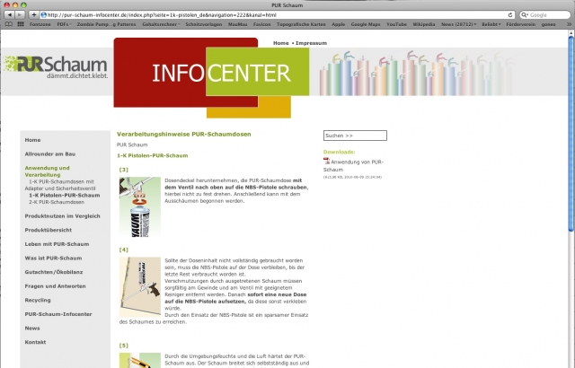 www. pur-schaum-infocenter.de:  Schaubilder und kurze Texte erläutern die wesentlichen Arbeitsschritte für PUR-Schäume.