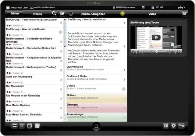 Die Web2Touch Benutzeroberfläche