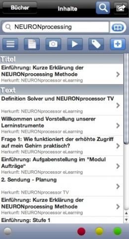 NEURONprocessor eLearning innerhalb der Web2Touch Lernumgebung: z.B. mit innovativen Lernkarten