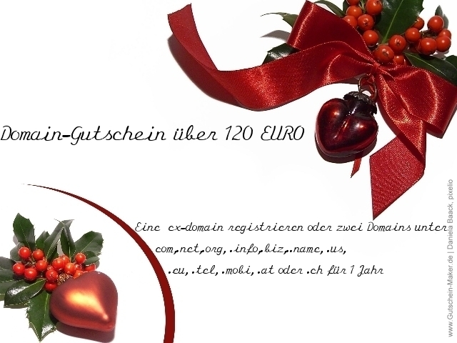 Tickets / Konzertkarten / Eintrittskarten | Geschenk-Gutschein: Domains im Wert von 120 EURO für 60 EURO erwerben