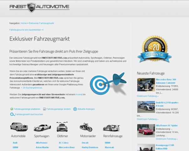 Auto News | Der exklusive Fahrzeugmarkt von FINESTAUTOMOTIVE.com garantiert Top-Platzierungen bei vielen Suchmaschinen.
